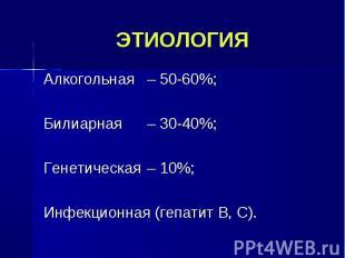 Алкогольная – 50-60%; Алкогольная – 50-60%; Билиарная – 30-40%; Генетическая – 1