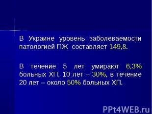 В Украине уровень заболеваемости патологией ПЖ составляет 149,8. В Украине урове
