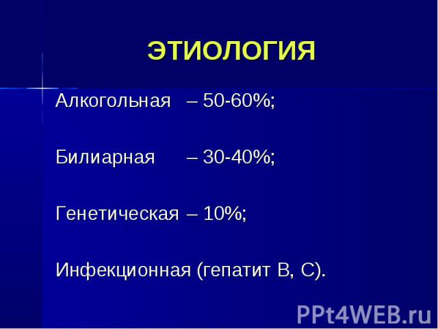 Алкогольная – 50-60%; Алкогольная – 50-60%; Билиарная – 30-40%; Генетическая – 10%; Инфекционная (гепатит В, С).