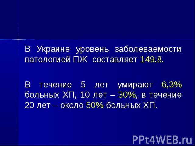 В Украине уровень заболеваемости патологией ПЖ составляет 149,8. В Украине уровень заболеваемости патологией ПЖ составляет 149,8. В течение 5 лет умирают 6,3% больных ХП, 10 лет – 30%, в течение 20 лет – около 50% больных ХП.