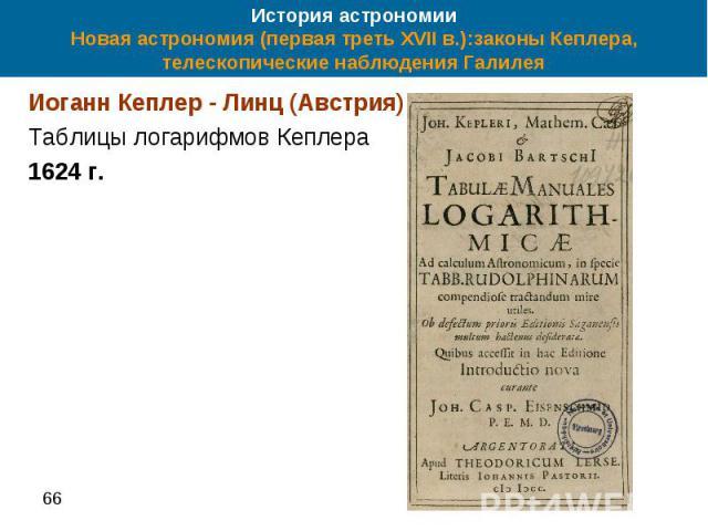 История астрономии Новая астрономия (первая треть XVII в.):законы Кеплера, телескопические наблюдения Галилея Иоганн Кеплер - Линц (Австрия) Таблицы логарифмов Кеплера 1624 г.