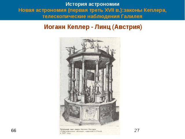 История астрономии Новая астрономия (первая треть XVII в.):законы Кеплера, телескопические наблюдения Галилея Иоганн Кеплер - Линц (Австрия)