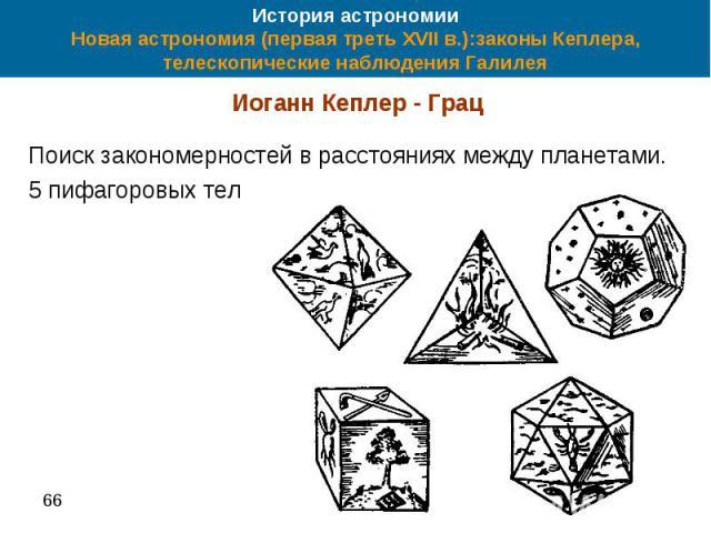 История астрономии Новая астрономия (первая треть XVII в.):законы Кеплера, телескопические наблюдения Галилея Иоганн Кеплер - Грац Поиск закономерностей в расстояниях между планетами. 5 пифагоровых тел