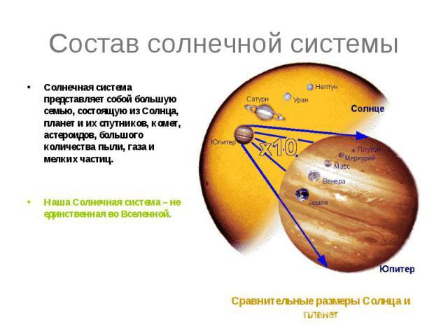 Состав солнечной системы Солнечная система представляет собой большую семью, состоящую из Солнца, планет и их спутников, комет, астероидов, большого количества пыли, газа и мелких частиц. Наша Солнечная система – не единственная во Вселенной.