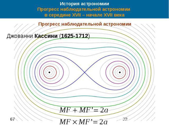 История астрономии Прогресс наблюдательной астрономии в середине XVII – начале XVII века Прогресс наблюдательной астрономии Джованни Кассини (1625-1712)