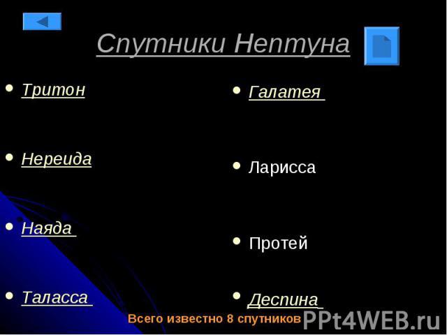 Спутники Нептуна Тритон Нереида Наяда Таласса