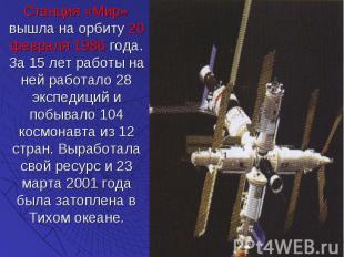 Станция «Мир» вышла на орбиту 20 февраля 1986 года. За 15 лет работы на ней рабо