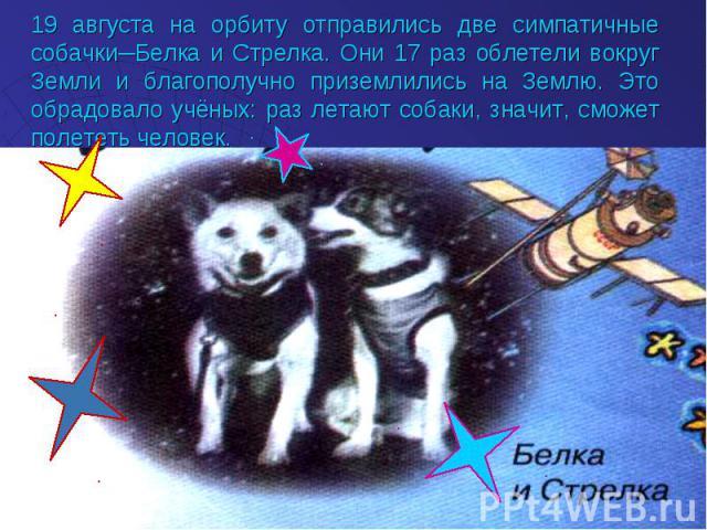19 августа на орбиту отправились две симпатичные собачки─Белка и Стрелка. Они 17 раз облетели вокруг Земли и благополучно приземлились на Землю. Это обрадовало учёных: раз летают собаки, значит, сможет полететь человек.