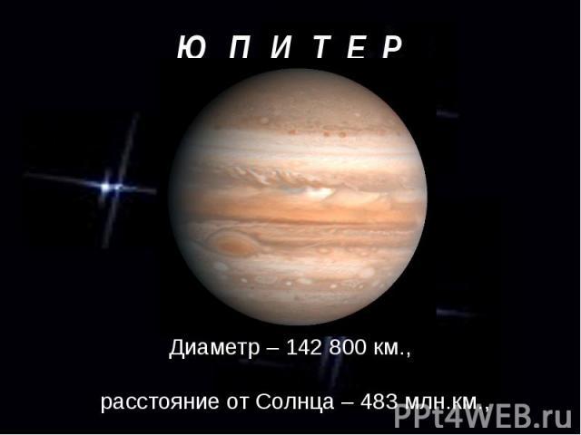 Диаметр – 142 800 км., Диаметр – 142 800 км., расстояние от Солнца – 483 млн.км., период обращения – 11 лет и 10 месяцев.