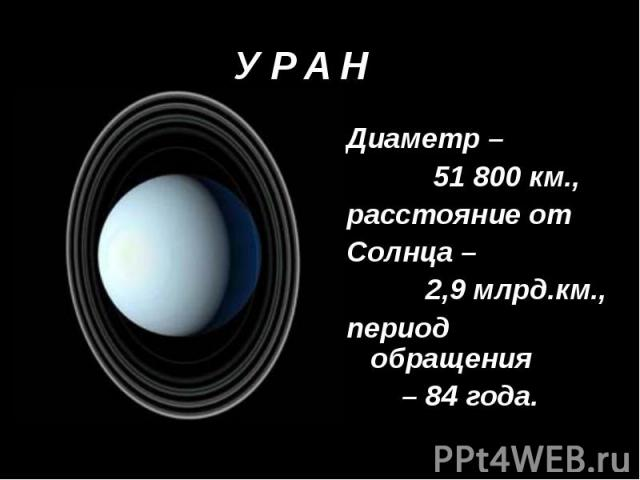 Диаметр – 51 800 км., расстояние от Солнца – 2,9 млрд.км., период обращения – 84 года.