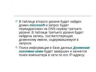 В таблице второго уровня будет найден домен microsoft и запрос будет переадресов