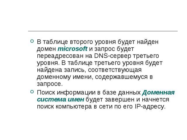 В таблице второго уровня будет найден домен microsoft и запрос будет переадресован на DNS-сервер третьего уровня. В таблице третьего уровня будет найдена запись, соответствующая доменному имени, содержавшемуся в запросе. В таблице второго уровня буд…