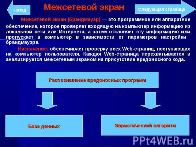 Межсетевой экран (брандмауэр) — это программное или аппаратное обеспечение, которое проверяет входящую на компьютер информацию из локальной сети или Интернета, а затем отклоняет эту информацию или пропускает в компьютер в зависимости от параметров н…