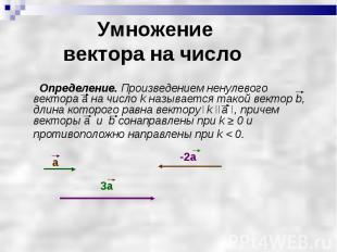 Определение. Произведением ненулевого вектора а на число k называется такой вект
