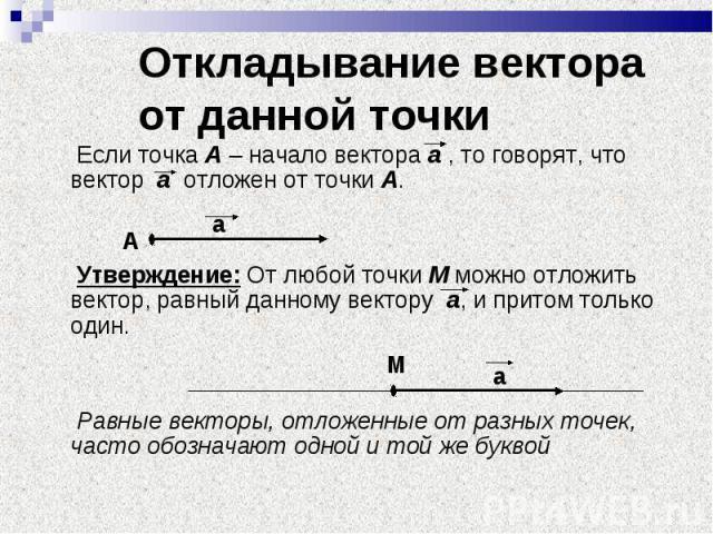 Если точка А – начало вектора а , то говорят, что вектор а отложен от точки А. Если точка А – начало вектора а , то говорят, что вектор а отложен от точки А. Утверждение: От любой точки М можно отложить вектор, равный данному вектору а, и притом тол…
