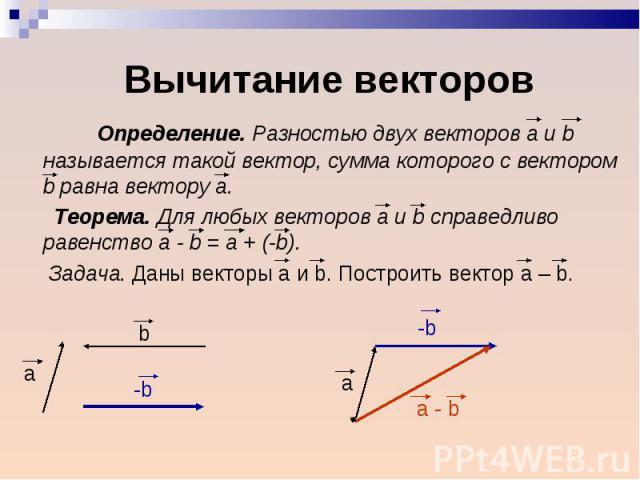 Определение. Разностью двух векторов а и b называется такой вектор, сумма которого с вектором b равна вектору а. Определение. Разностью двух векторов а и b называется такой вектор, сумма которого с вектором b равна вектору а. Теорема. Для любых вект…
