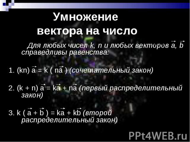 Для любых чисел k, n и любых векторов а, b справедливы равенства: Для любых чисел k, n и любых векторов а, b справедливы равенства: 1. (kn) а = k ( na ) (сочетательный закон) 2. (k + n) а = kа + na (первый распределительный закон) 3. k ( а + b ) = k…