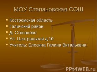 Костромская область Костромская область Галичский район Д. Степаново Ул. Централ