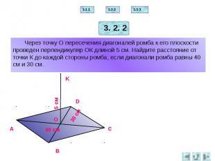 Через точку О пересечения диагоналей ромба к его плоскости проведен перпендикуля