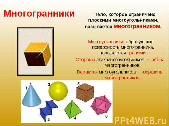 Тело, которое ограничено плоскими многоугольниками, называется многогранником. Многоугольники, образующие поверхность многогранника, называются гранями. Стороны этих многоугольников — рёбра многогранников. Вершины многоугольников — вершины многогранников.
