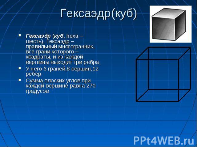 Гексаэдр (куб, hexa – шесть). Гексаэдр – правильный многогранник, все грани которого – квадраты, и из каждой вершины выходит три ребра. Гексаэдр (куб, hexa – шесть). Гексаэдр – правильный многогранник, все грани которого – квадраты, и из каждой верш…