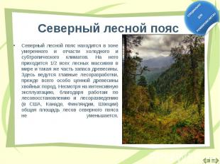 Северный лесной пояс находится в зоне умеренного и отчасти холодного и субтропич