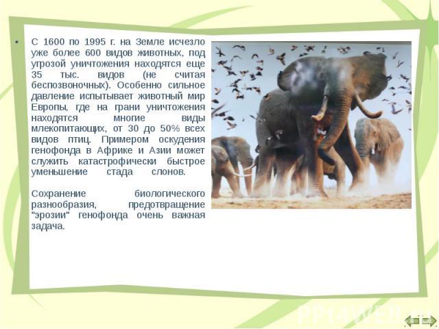 С 1600 по 1995 г. на Земле исчезло уже более 600 видов животных, под угрозой уничтожения находятся еще 35 тыс. видов (не считая беспозвоночных). Особенно сильное давление испытывает животный мир Европы, где на грани уничтожения находятся многие виды…