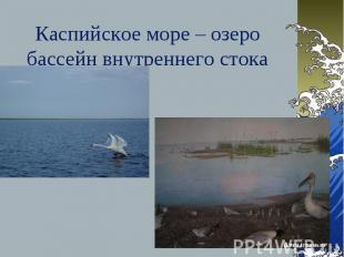 Каспийское море – озеро бассейн внутреннего стока