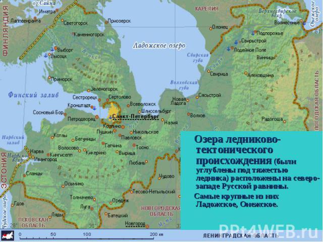 Озера ледниково-тектонического происхождения (были углублены под тяжестью ледника) расположены на северо-западе Русской равнины. Озера ледниково-тектонического происхождения (были углублены под тяжестью ледника) расположены на северо-западе Русской …