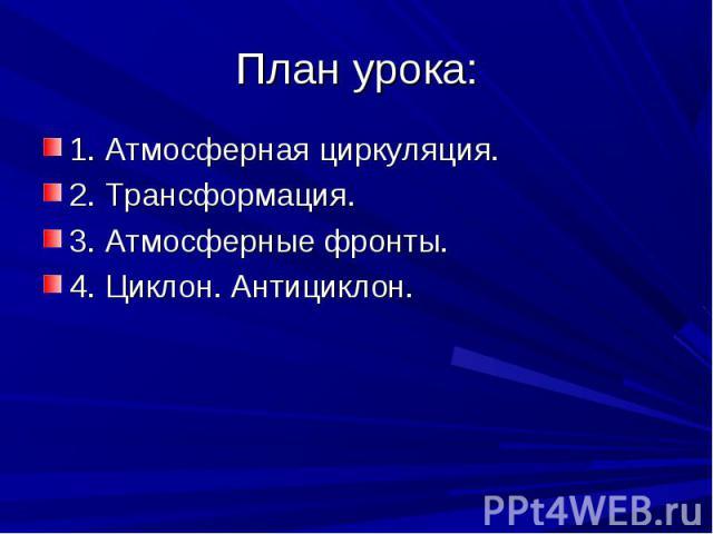 1. Атмосферная циркуляция. 1. Атмосферная циркуляция. 2. Трансформация. 3. Атмосферные фронты. 4. Циклон. Антициклон.