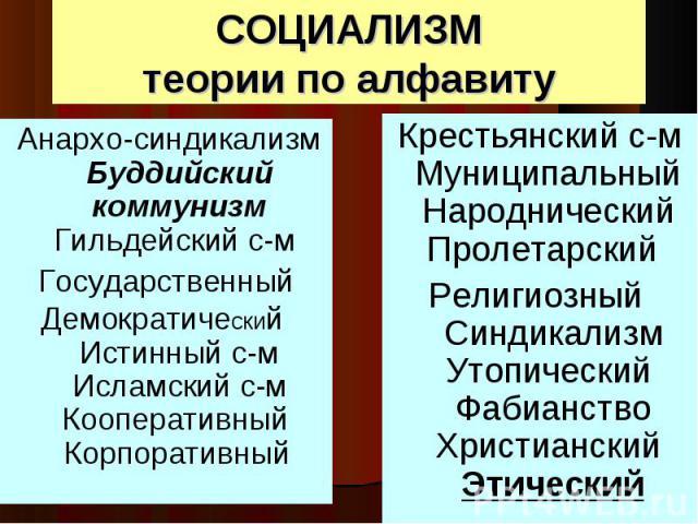 Анархо-синдикализм Буддийский коммунизм Гильдейский с-м Анархо-синдикализм Буддийский коммунизм Гильдейский с-м Государственный Демократический Истинный с-м Исламский с-м Кооперативный Корпоративный