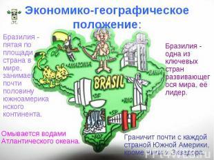 Бразилия - пятая по площади страна в мире, занимает почти половину южноамериканс