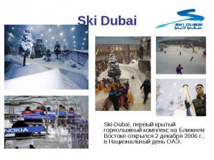 Ski-Dubai, первый крытый горнолыжный комплекс на Ближнем Востоке открылся 2 дека