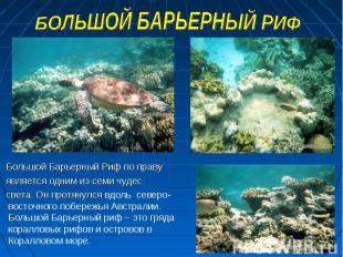 Большой Барьерный Риф по праву Большой Барьерный Риф по праву является одним из