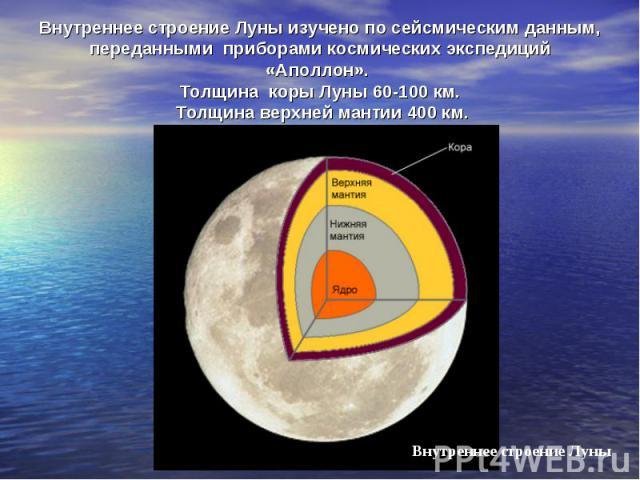 Внутреннее строение Луны изучено по сейсмическим данным, переданными приборами космических экспедиций «Аполлон». Толщина коры Луны 60-100 км. Толщина верхней мантии 400 км.