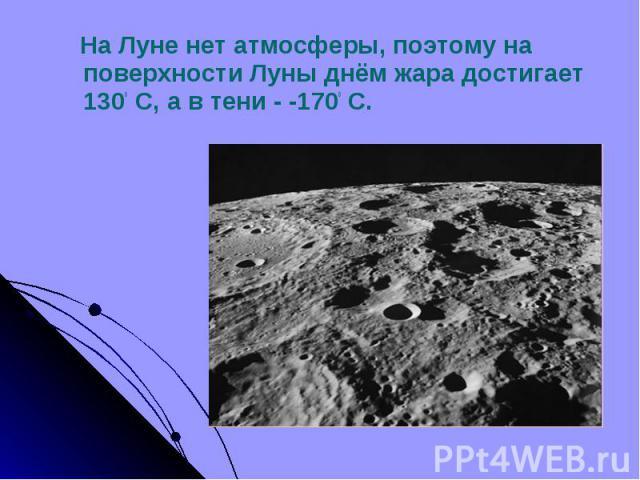 На Луне нет атмосферы, поэтому на поверхности Луны днём жара достигает 1300 С, а в тени - -1700 С. На Луне нет атмосферы, поэтому на поверхности Луны днём жара достигает 1300 С, а в тени - -1700 С.