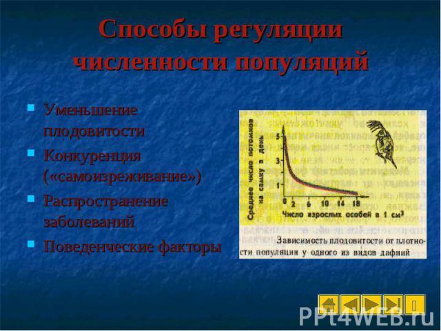 Уменьшение плодовитости Уменьшение плодовитости Конкуренция («самоизреживание») Распространение заболеваний Поведенческие факторы