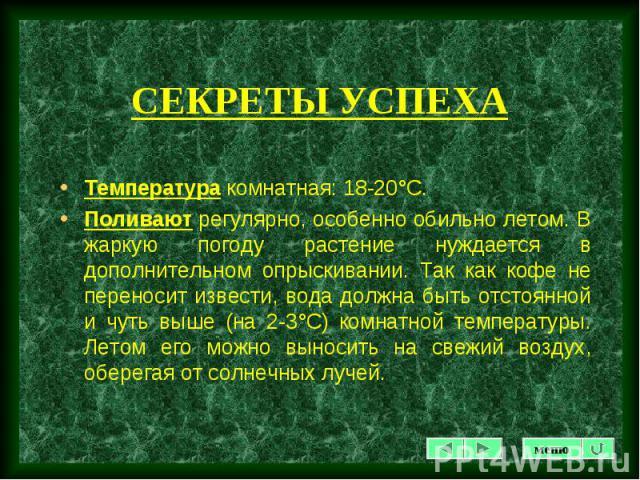 Температура комнатная: 18-20°С. Температура комнатная: 18-20°С. Поливают регулярно, особенно обильно летом. В жаркую погоду растение нуждается в дополнительном опрыскивании. Так как кофе не переносит извести, вода должна быть отстоянной и чуть выше …