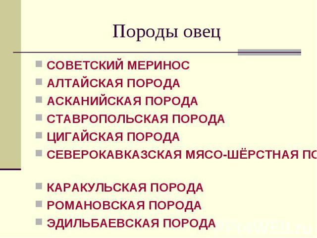 СОВЕТСКИЙ МЕРИНОС СОВЕТСКИЙ МЕРИНОС АЛТАЙСКАЯ ПОРОДА АСКАНИЙСКАЯ ПОРОДА СТАВРОПОЛЬСКАЯ ПОРОДА ЦИГАЙСКАЯ ПОРОДА СЕВЕРОКАВКАЗСКАЯ МЯСО-ШЁРСТНАЯ ПОРОДА КАРАКУЛЬСКАЯ ПОРОДА РОМАНОВСКАЯ ПОРОДА ЭДИЛЬБАЕВСКАЯ ПОРОДА
