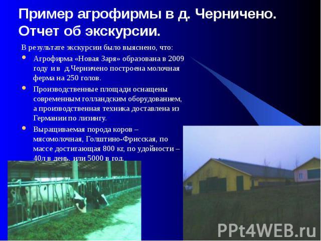 Пример агрофирмы в д. Черничено. Отчет об экскурсии. В результате экскурсии было выяснено, что: Агрофирма «Новая Заря» образована в 2009 году и в д.Черничено построена молочная ферма на 250 голов. Производственные площади оснащены современным голлан…