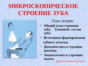 План лекции: План лекции: Общий план строения зуба. Тканевой состав зуба. Источн