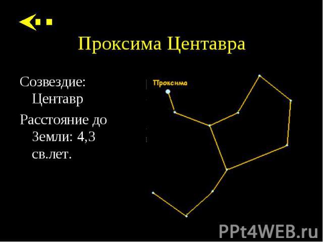 Созвездие: Центавр Созвездие: Центавр Расстояние до Земли: 4,3 св.лет.
