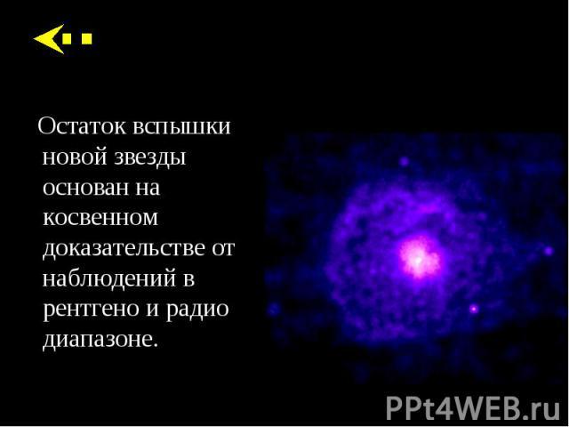 Остаток вспышки новой звезды основан на косвенном доказательстве от наблюдений в рентгено и радио диапазоне. Остаток вспышки новой звезды основан на косвенном доказательстве от наблюдений в рентгено и радио диапазоне.