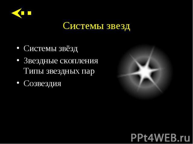 Системы звёзд Системы звёзд Звездные скопления Типы звездных пар Созвездия