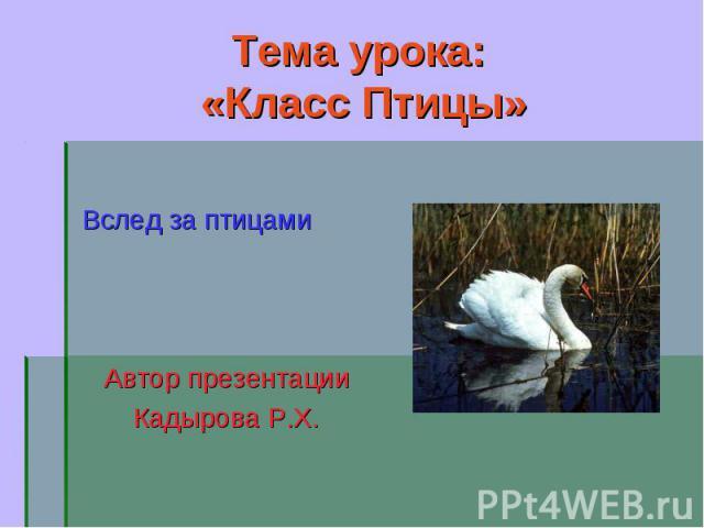 Вслед за птицами Вслед за птицами Автор презентации Кадырова Р.Х.