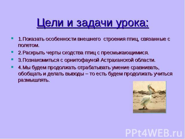 1.Показать особенности внешнего строения птиц, связанные с полетом. 1.Показать особенности внешнего строения птиц, связанные с полетом. 2.Раскрыть черты сходства птиц с пресмыкающимися. 3.Познакомиться с орнитофауной Астраханской области. 4.Мы будем…
