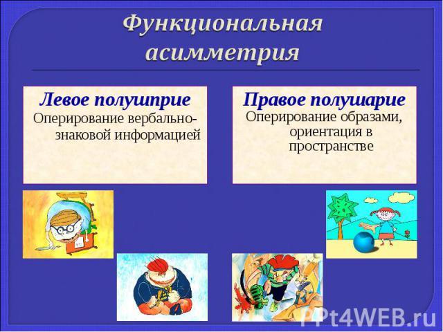 Левое полушприе Левое полушприе Оперирование вербально-знаковой информацией