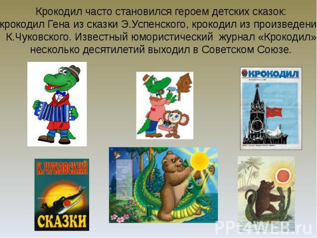 Крокодил часто становился героем детских сказок: крокодил Гена из сказки Э.Успенского, крокодил из произведений К.Чуковского. Известный юмористический журнал «Крокодил» несколько десятилетий выходил в Советском Союзе.
