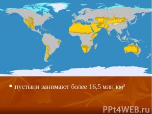 пустыни занимают более 16,5млн км² пустыни занимают более 16,5млн км