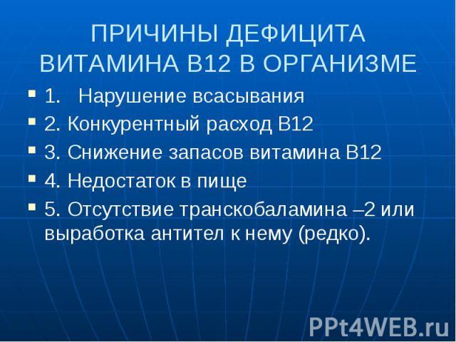 ПРИЧИНЫ ДЕФИЦИТА ВИТАМИНА В12 В ОРГАНИЗМЕ 1. Нарушение всасывания 2. Конкурентный расход В12 3. Снижение запасов витамина В12 4. Недостаток в пище 5. Отсутствие транскобаламина –2 или выработка антител к нему (редко).